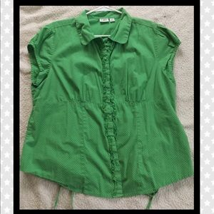 Cato brand green with while polka dot button up